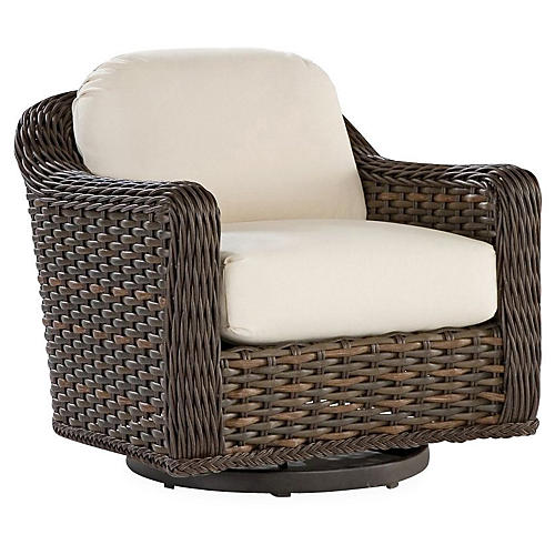 South Hampton Swivel Chair, Natural Sunbrella