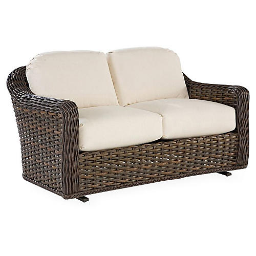 South Hampton Glider Loveseat, Natural Sunbrella