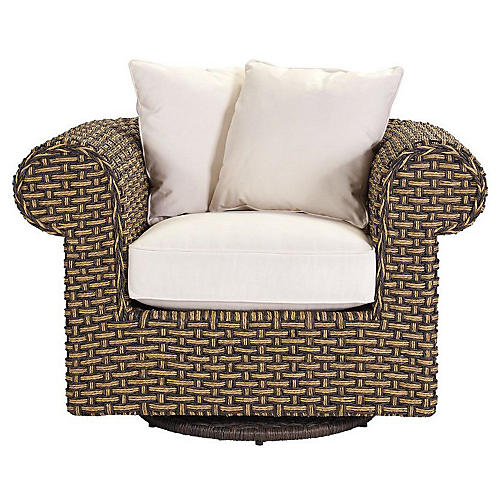 Hemingway Swivel Chair, Natural Sunbrella