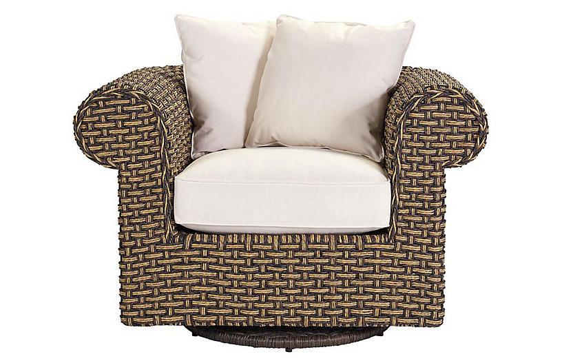 Hemingway Swivel Chair, Natural Sunbrella