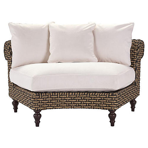 Hemingway Wedge Loveseat, Natural Sunbrella