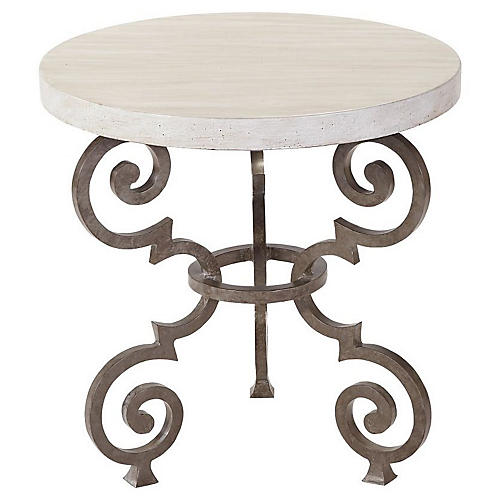 Hemingway Florentine Side Table, Ivory