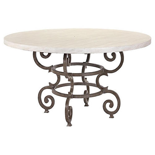 Hemingway Florentine Round Dining Table, Ivory