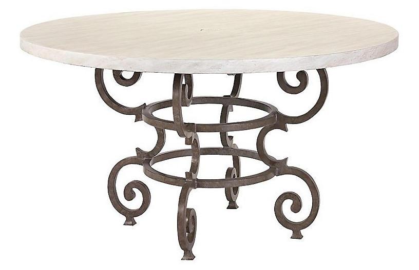 Hemingway Florentine Round Dining Table, Ivory