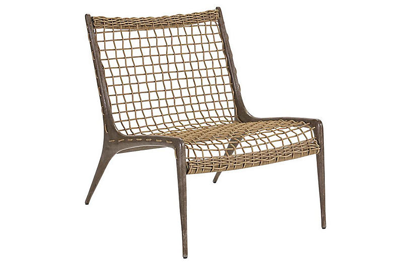 Hemingway Accent Chair, Gray/Gold