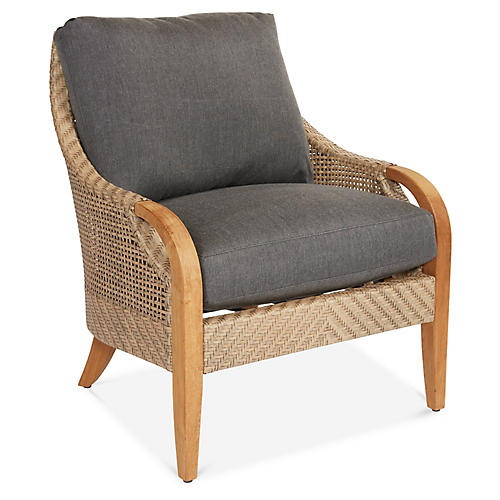 Edgewood Lounge Chair, Charcoal Sunbrella