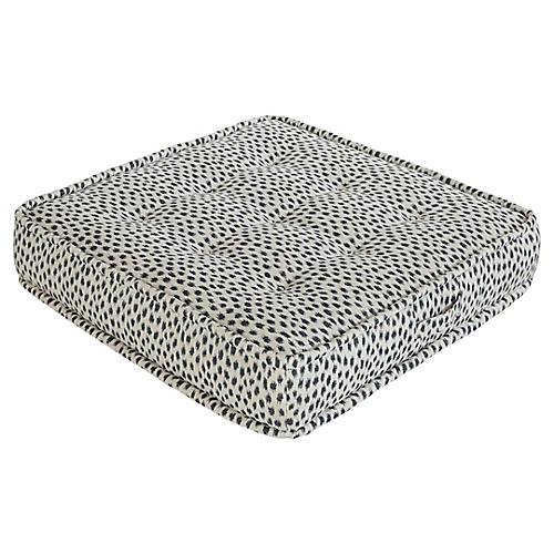 Tufted Floor Cushion Blue Cheetah Sunbrella