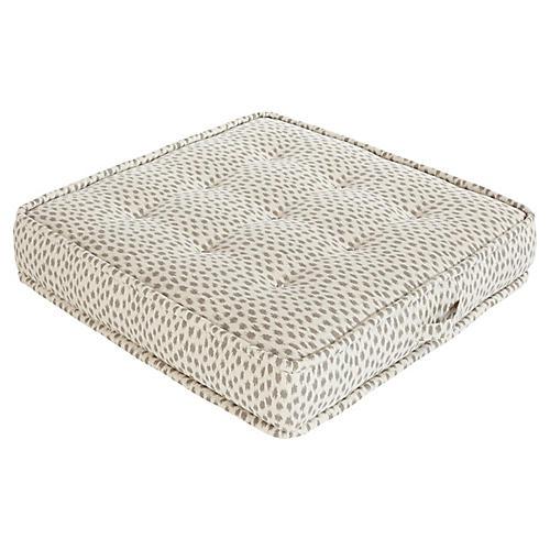 Tufted Floor Cushion, Gray Cheetah Sunbrella