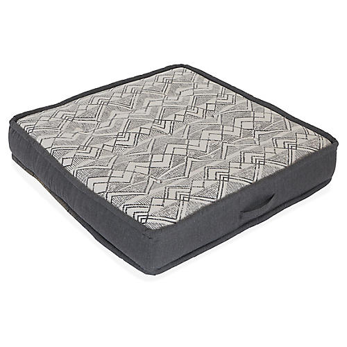 Tufted Floor Cushion, Gray Lennox Sunbrella