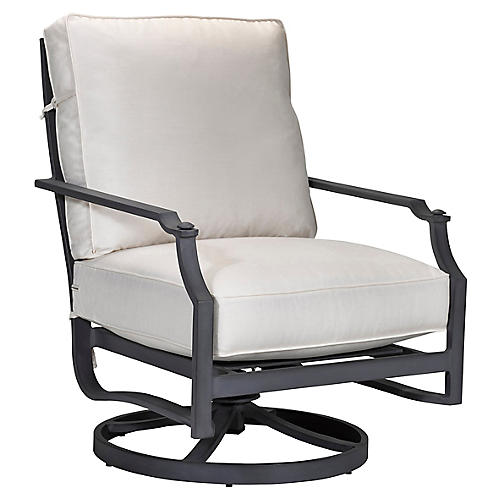 Raleigh Rocker Club Chair, Black/White Sunbrella