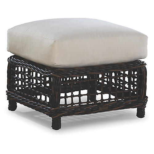 Moraya Bay Ottoman, Brown/Natural Sunbrella