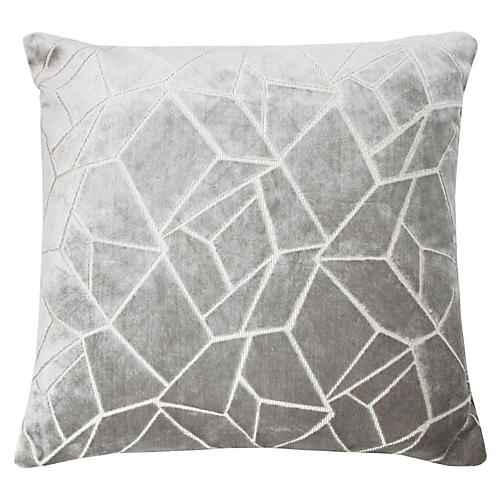 Elizabeth 22x22 Pillow, Silver/White