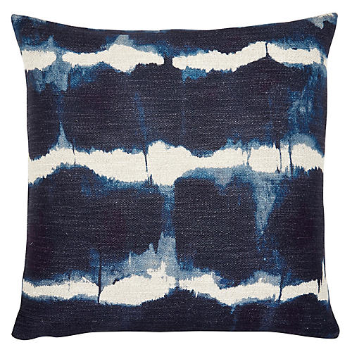 Gilbert 22x22 Pillow, Indigo/White Linen