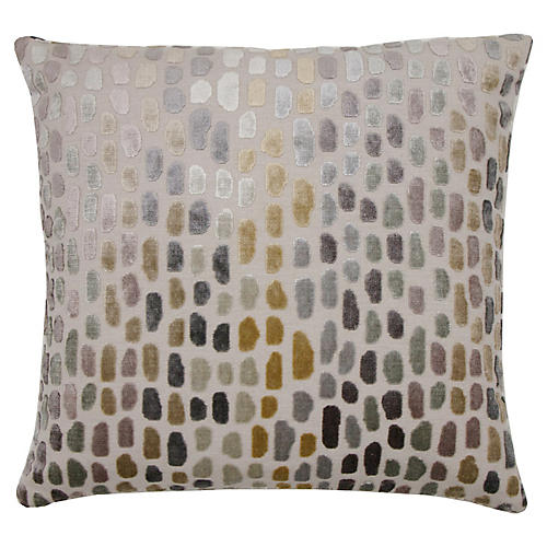 Jane 22x22 Pillow, Metallic Spot Velvet