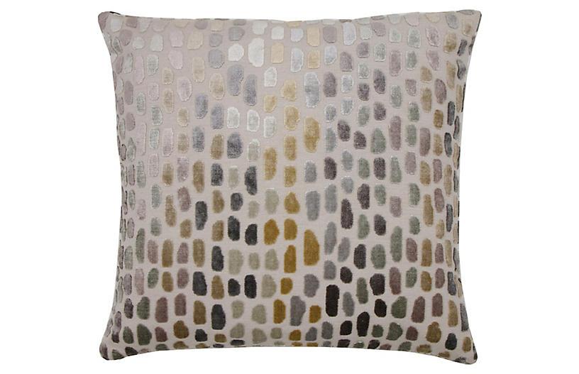 Jane 22x22 Pillow, Metallic Spot Velvet
