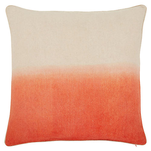 Jenkins 22x22 Pillow, Coral/Ivory