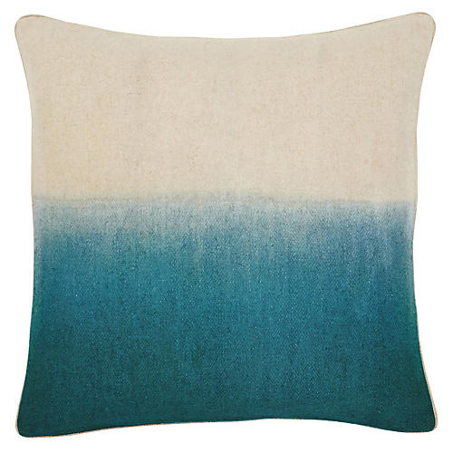 Jenkins 22x22 Pillow, Turquoise/Ivory