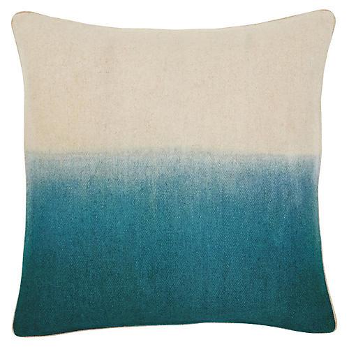 Jenkins 22x22 Pillow, Turquoise/Ivory