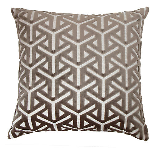 Keller 22x22 Pillow, Taupe Gray/White Velvet