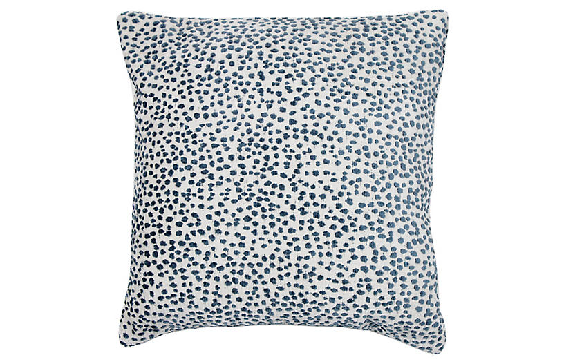 Lola 22x22 Dots Pillow, Prussian Blue/White