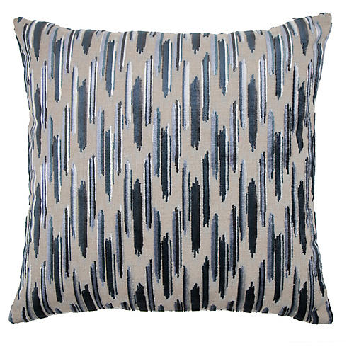 Mira 22x22 Pillow, Baltic/Silver Velvet