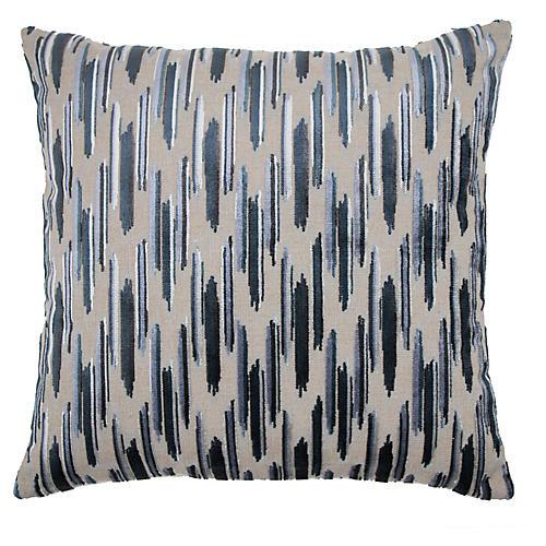 Mira 22x22 Pillow, Baltic/Silver Velvet