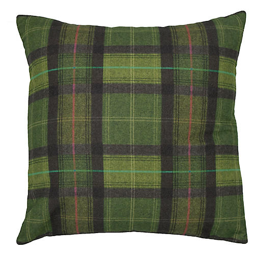 Nancy 22x22 Plaid Pillow, Forest Green/Black