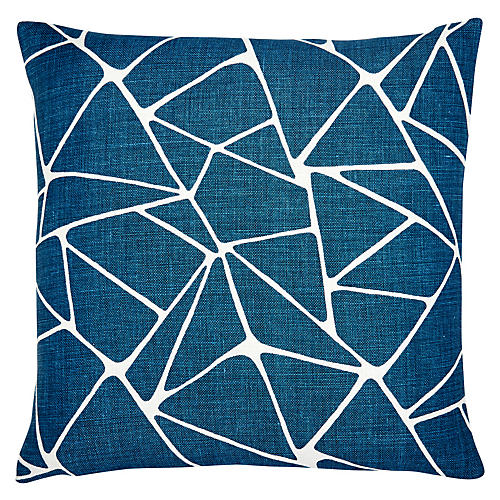 Oliver 22x22 Pillow, Azure/White Linen