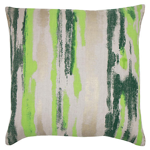 Remy 22x22 Pillow, Green/Multi Linen