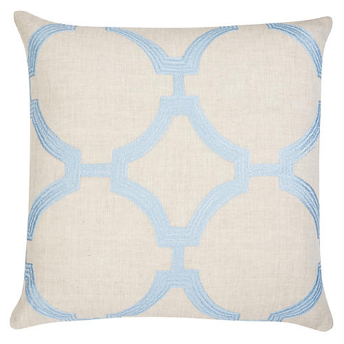 Reynolds 22x22 Pillow, Sky/Ivory Linen
