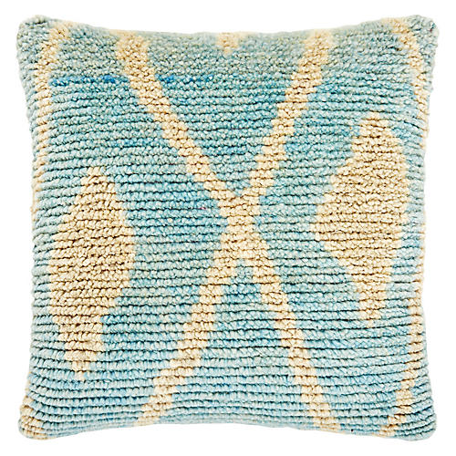 Riley 22x22 Pillow, Robin's-Egg Blue/Natural