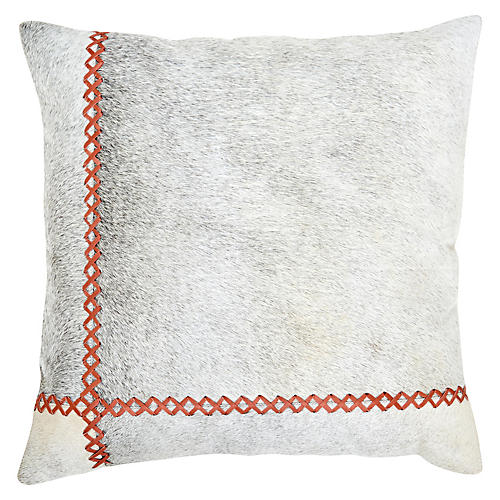 Windsor 22x22 Pillow, Persimmon/Gray
