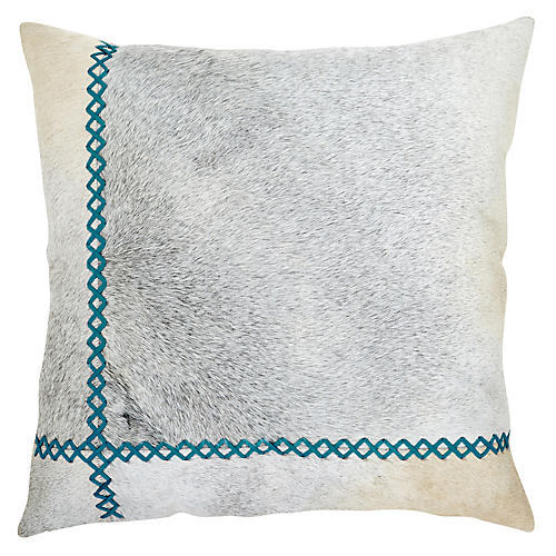 Windsor 22x22 Pillow, Bondi Blue/Gray