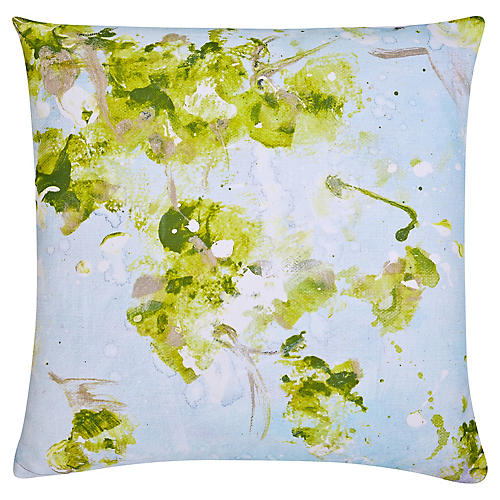 Ivy 22x22 Outdoor Pillow, Sky/Multi