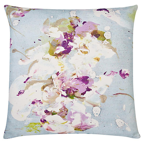 Lilac Love 22x22 Outdoor Pillow, Sky/Multi