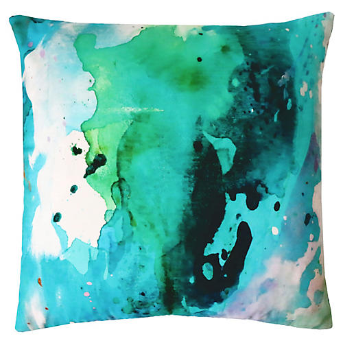 Peacock Mist 22x22 Outdoor Pillow, Blue Lagoon/Multi