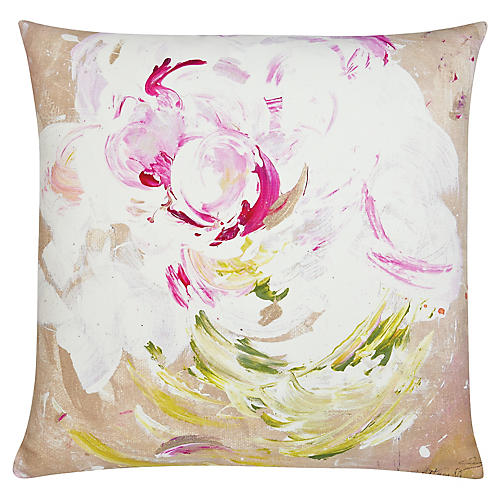 Peony Pop 22x22 Outdoor Pillow, Magenta/Multi