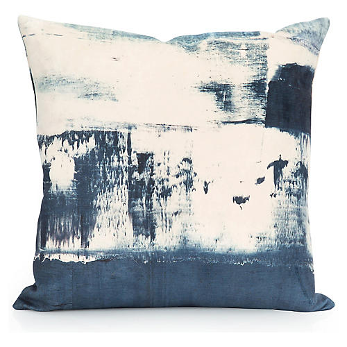 Coastal's End 20x20 Pillow, Ivory/Indigo Velvet