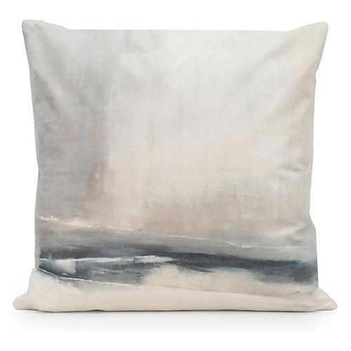 Enigma 20x20 Pillow, Beige/Indigo Velvet