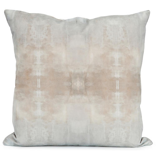 Ghost No. 2 20x20 Pillow, Taupe/Blue Velvet