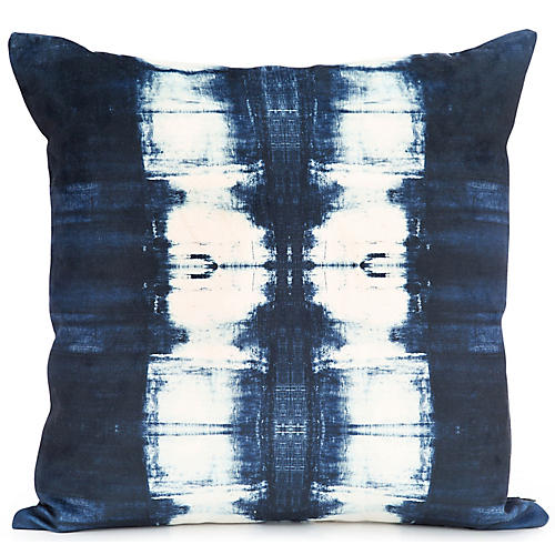 Costal's End No.16 20x20 Pillow, Ivory/Navy Velvet