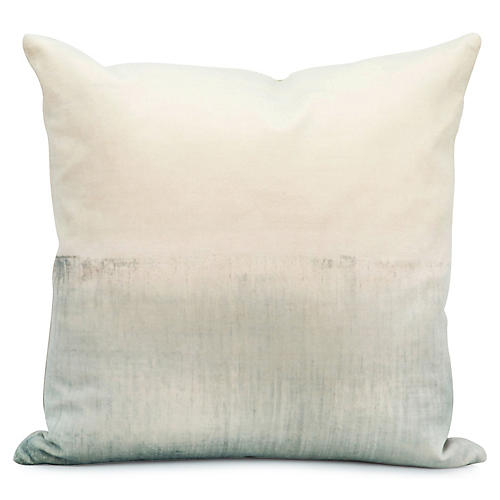 Seascape 20x20 Pillow, Ivory/Teal Velvet