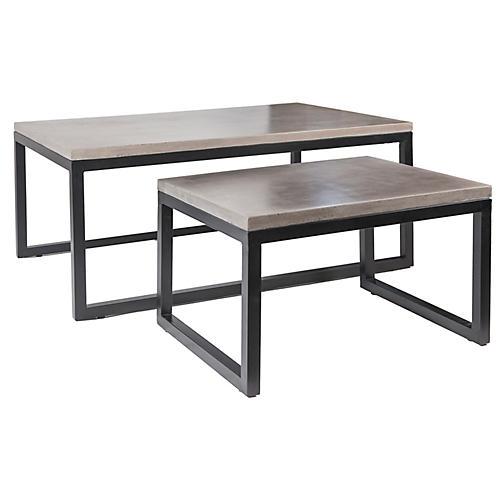 Asst. of 2 Copenhagen Nesting Coffee Tables, Gray
