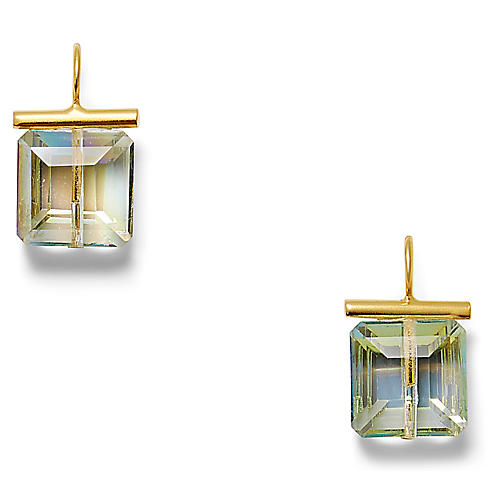 14-Kt Swarovski Crystal Earrings, Sea-Green