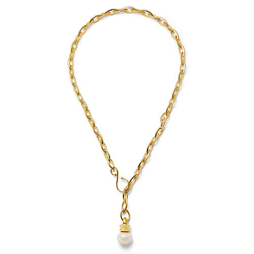 14-Kt Elongated Chain Necklace, White Pearl