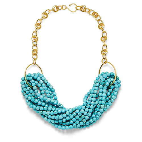 14-Kt Hook & Clasp Chain Necklace, Turquoise