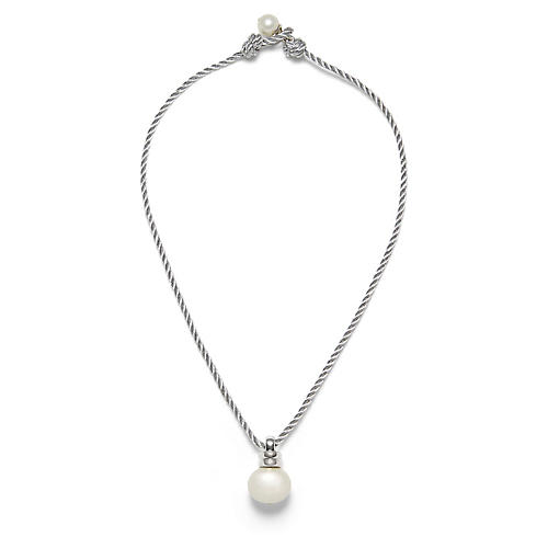 Twisted Pendant Necklace, Silver/White Pearl