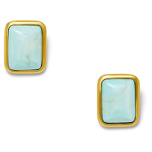 18-Kt Rectangular Clip-On Earrings, Turquoise