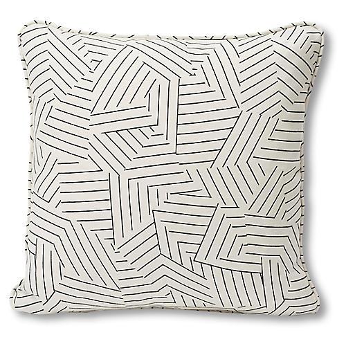 Stripe 18x18 Pillow, Black/Ivory Linen