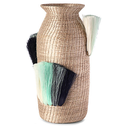 "14"" Fanned-Out Tall Vase, Flax/Turquoise"